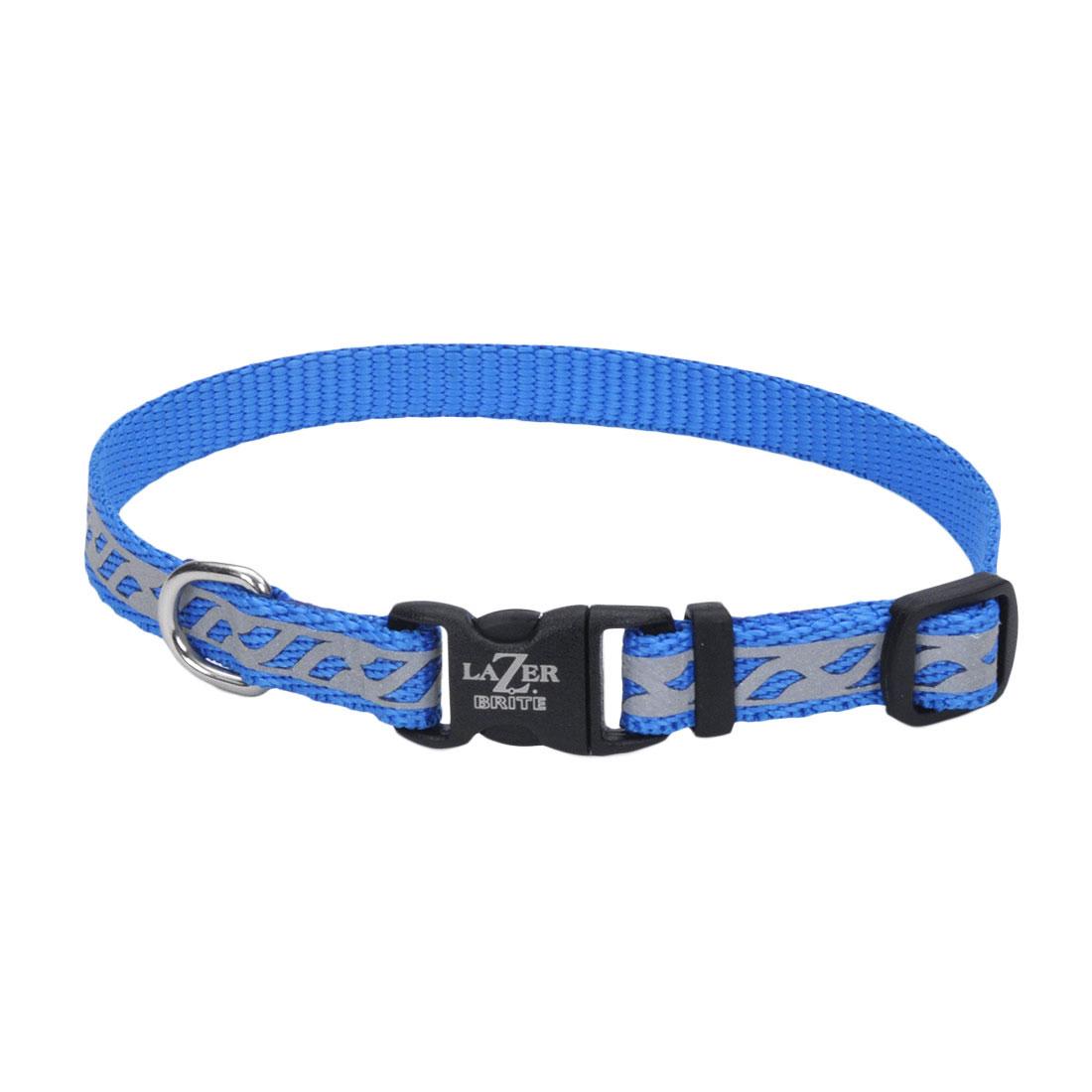 Lazer Brite Reflective Open-Design Adjustable Collar, Blue Lagoon Wave, 3/8-in x 8-in-12-in
