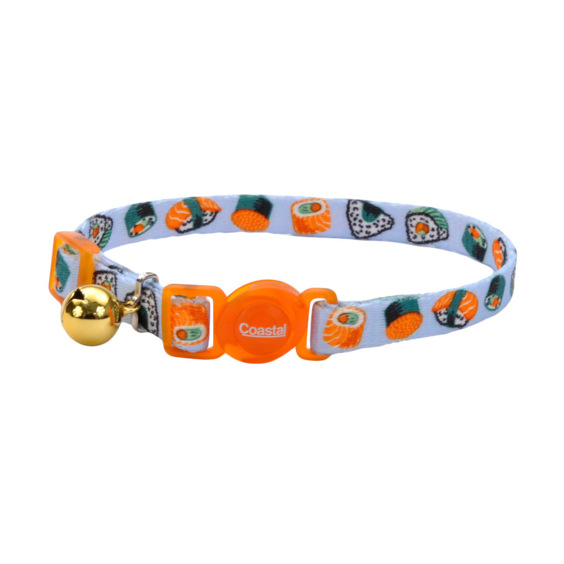 Safe Cat Fashion Adjustable Breakaway Collar, Sushi on Blue Image