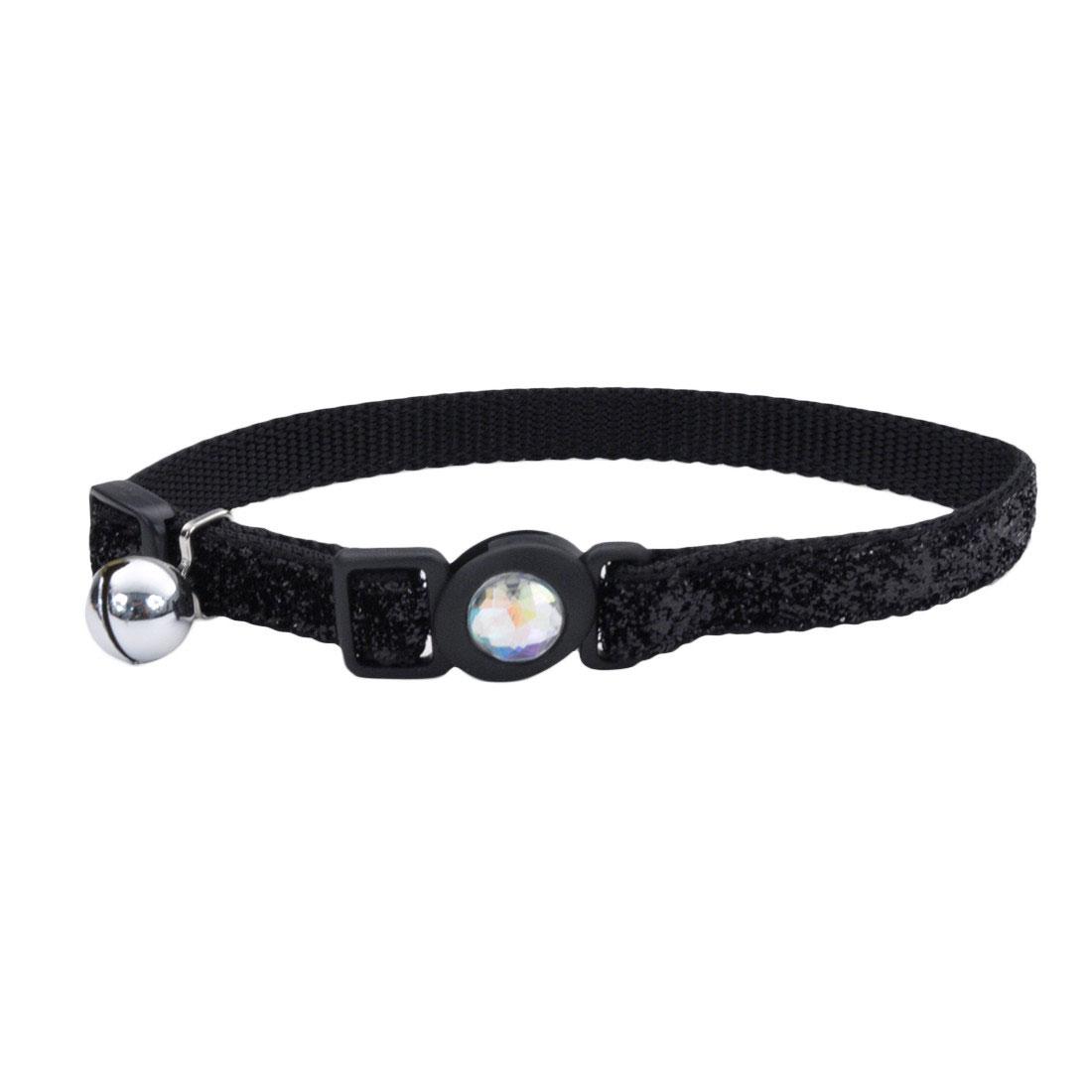 Safe Cat Jeweled Buckle Adjustable Breakaway Cat Collar with Glitter Overlay, Black Image