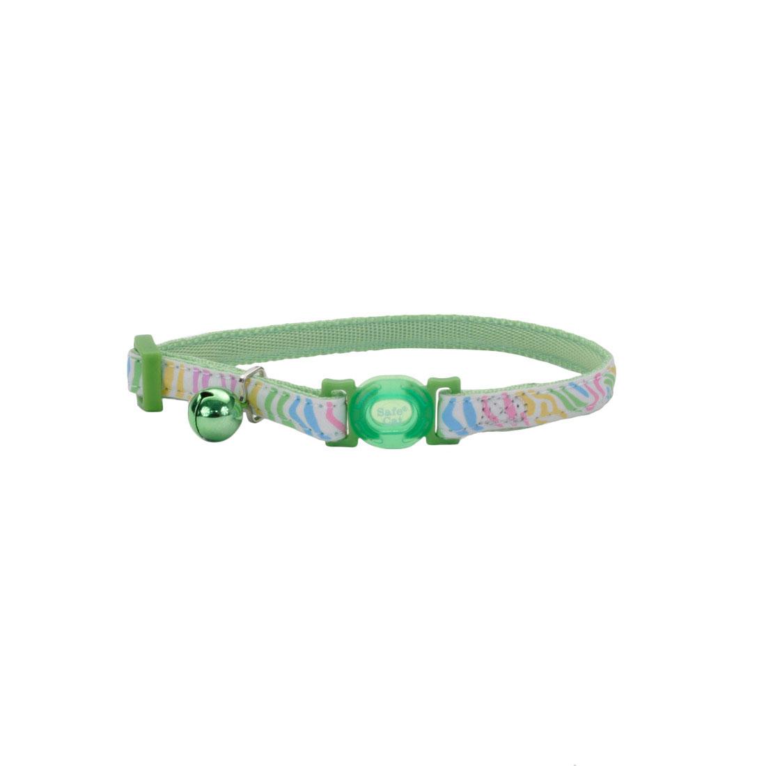 Safe Cat Glow in the Dark Adjustable Breakaway Collar, Glowing Green Stripes, 3/8-in x 8-in-12-in