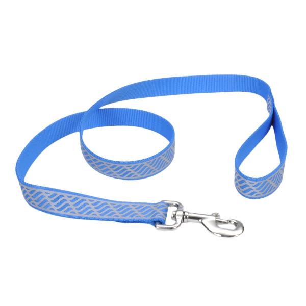 Lazer Brite Reflective Dog Leash, Blue Waves, 1-in x 6-ft