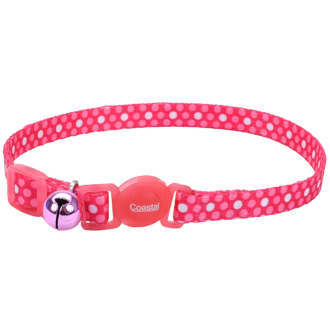 Safe Cat Fashion Adjustable Breakaway Cat Collar, Pink Dots, 3/8-in x 8-in-12-in