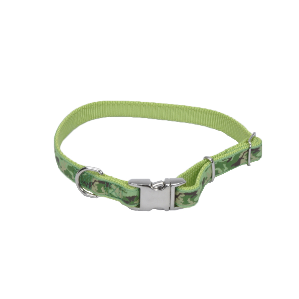 Ribbon Adjustable Nylon Dog Collar with Buckle, Lime Camo Image