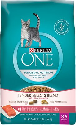Purina ONE Tender Selects Blend with Real Salmon Dry Cat Food, 3.5-lb bag