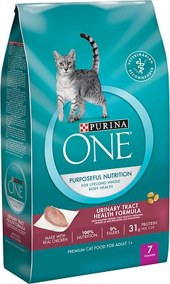 Purina ONE Urinary Tract Health Formula Adult Premium Dry Cat Food, 7-lb bag