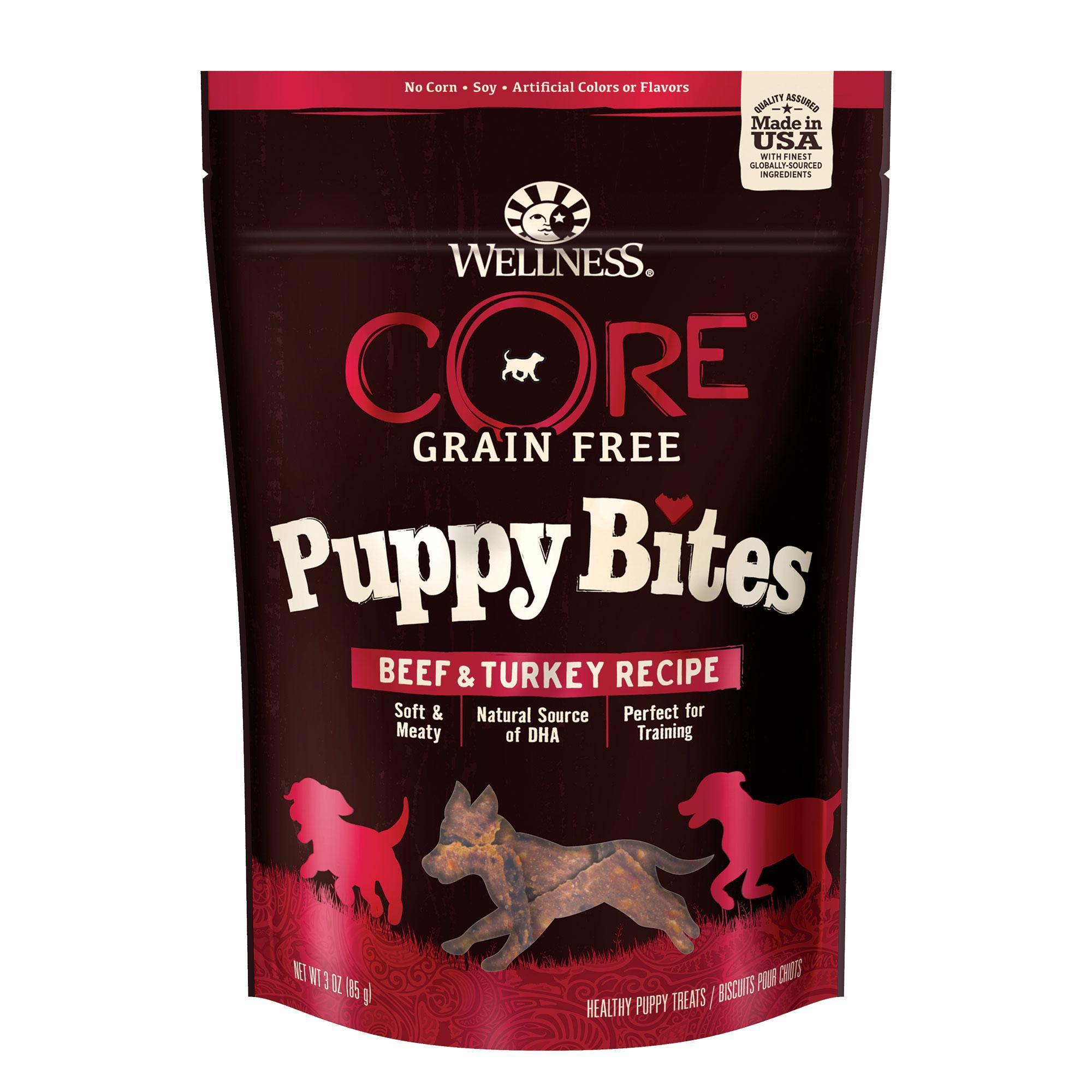 Wellness CORE Puppy Bites Beef & Turkey Grain-Free Dog Treats, 3-oz