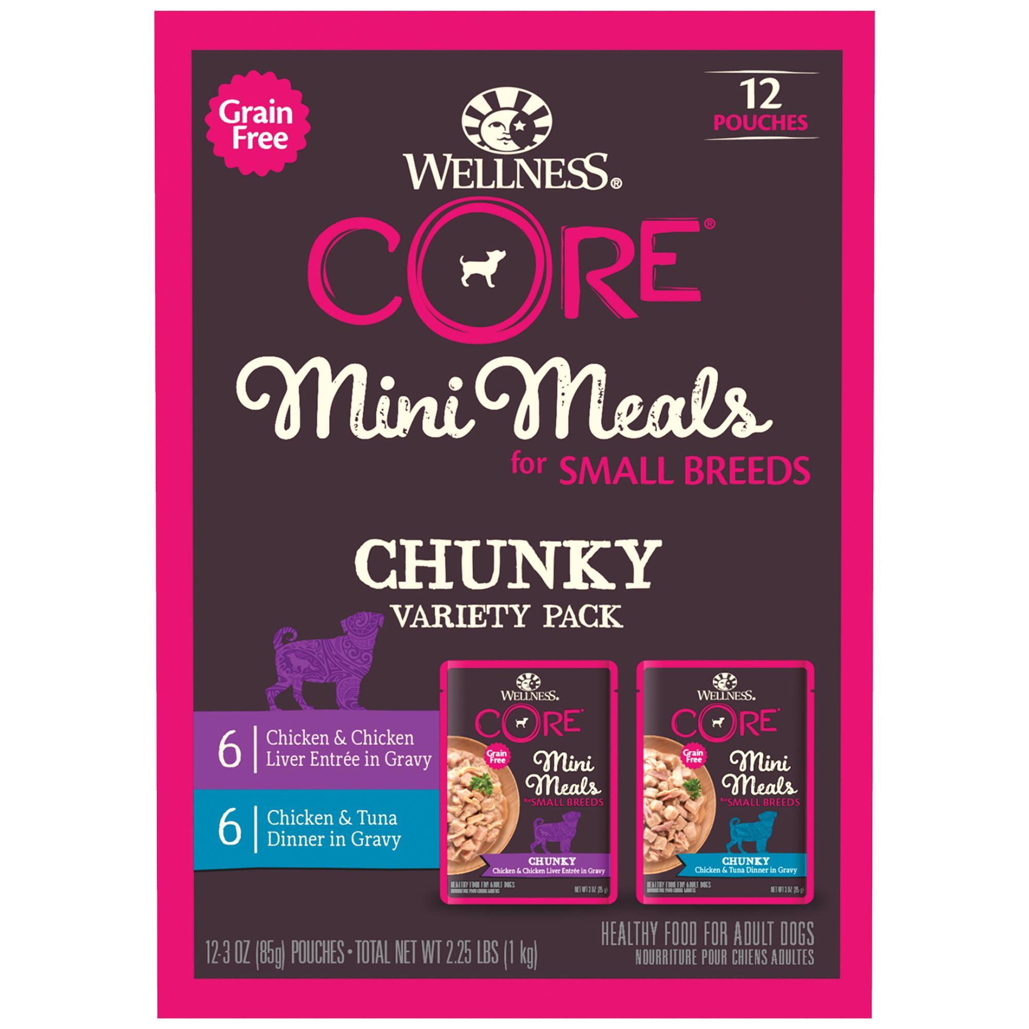 Wellness CORE Mini Meals Chunky Variety Pack Small Breed Wet Dog Food, 3-oz, case of 12