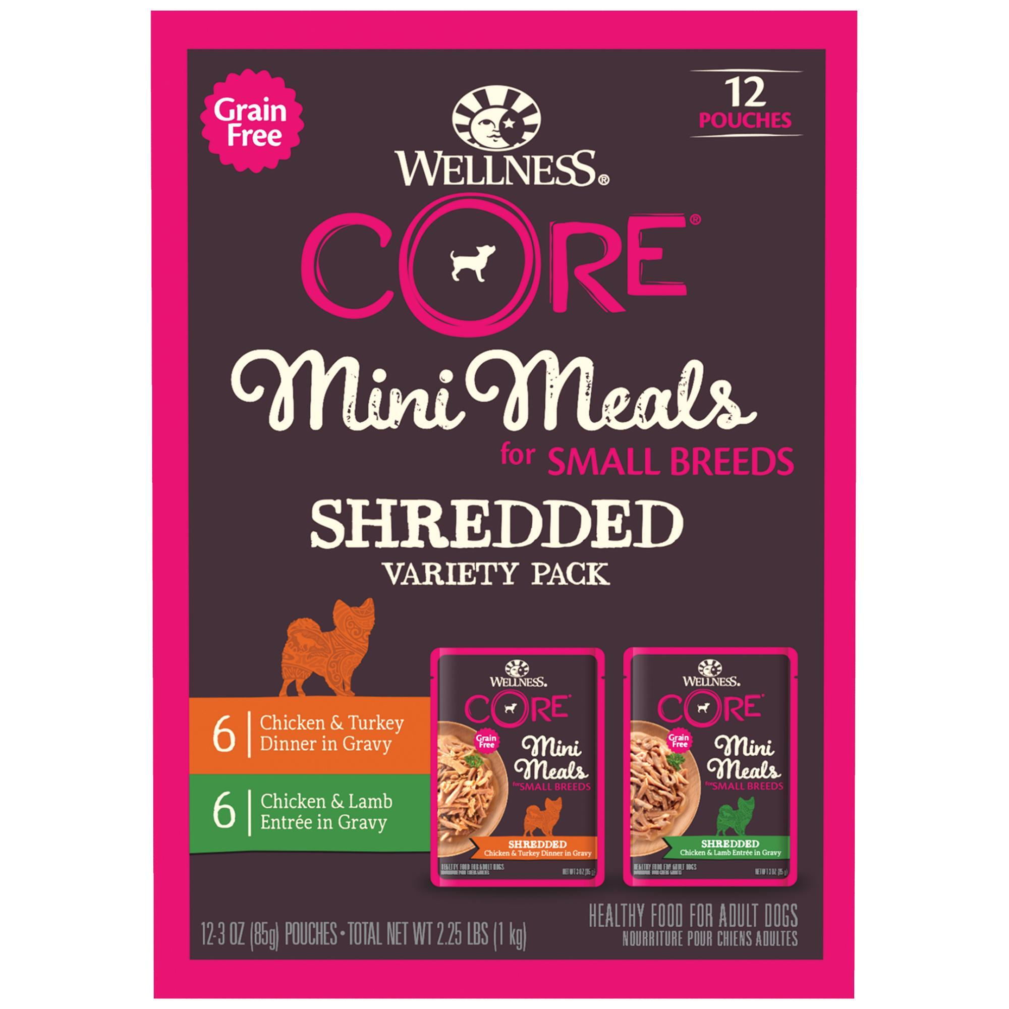 Wellness CORE Mini Meals Shredded Variety Pack Small Breed Wet Dog Food, 3-oz, pack of 12