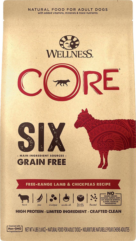 Wellness CORE SIX Free-Range Lamb & Chickpeas Grain-Free Dry Dog Food, 4-lb