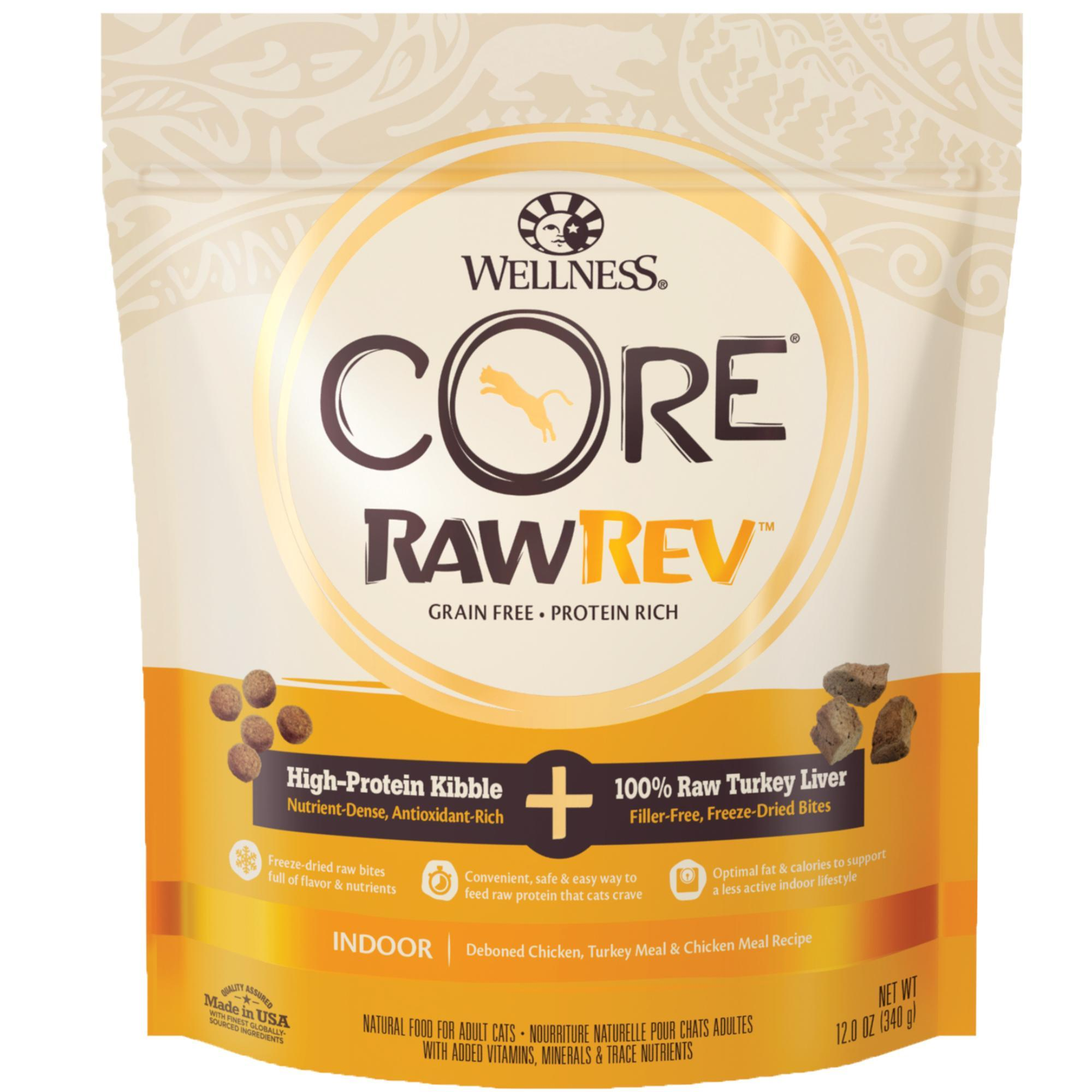 Wellness CORE RawRev Indoor Recipe with Freeze-Dried Turkey Liver Dry Cat Food, 12-oz
