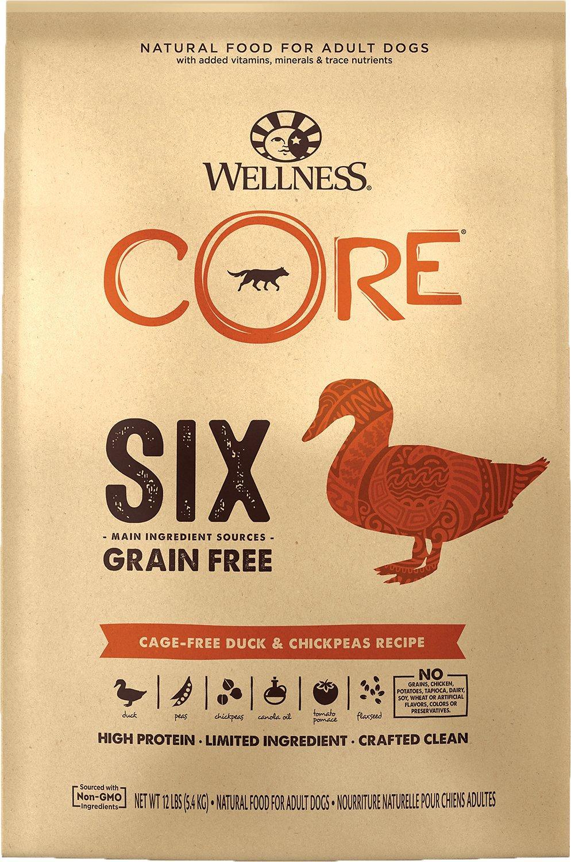 Wellness CORE SIX Cage-Free Duck & Chickpeas Grain-Free Dry Dog Food, 12-lb