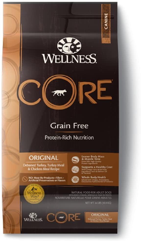 Wellness CORE Grain-Free Original Deboned Turkey, Turkey Meal & Chicken Meal Recipe Dry Dog Food, 24-lb