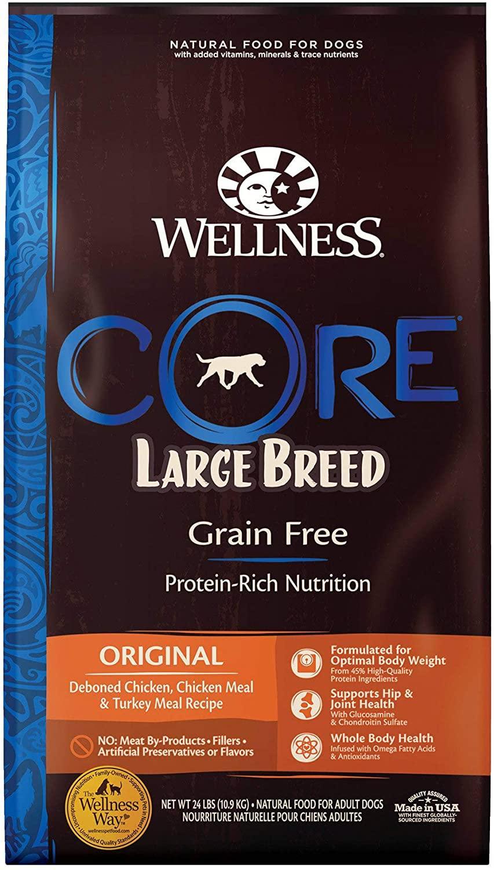 Wellness CORE Grain-Free Large Breed Chicken & Turkey Dry Dog Food, 24-lb