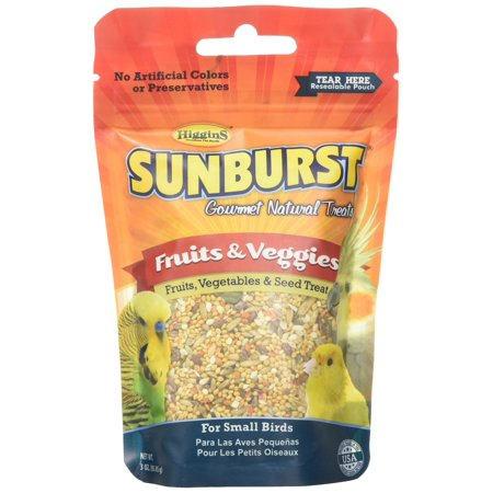 Higgins Sunburst Fruits & Veggies Gourmet Treats for Small Birds, 3 oz