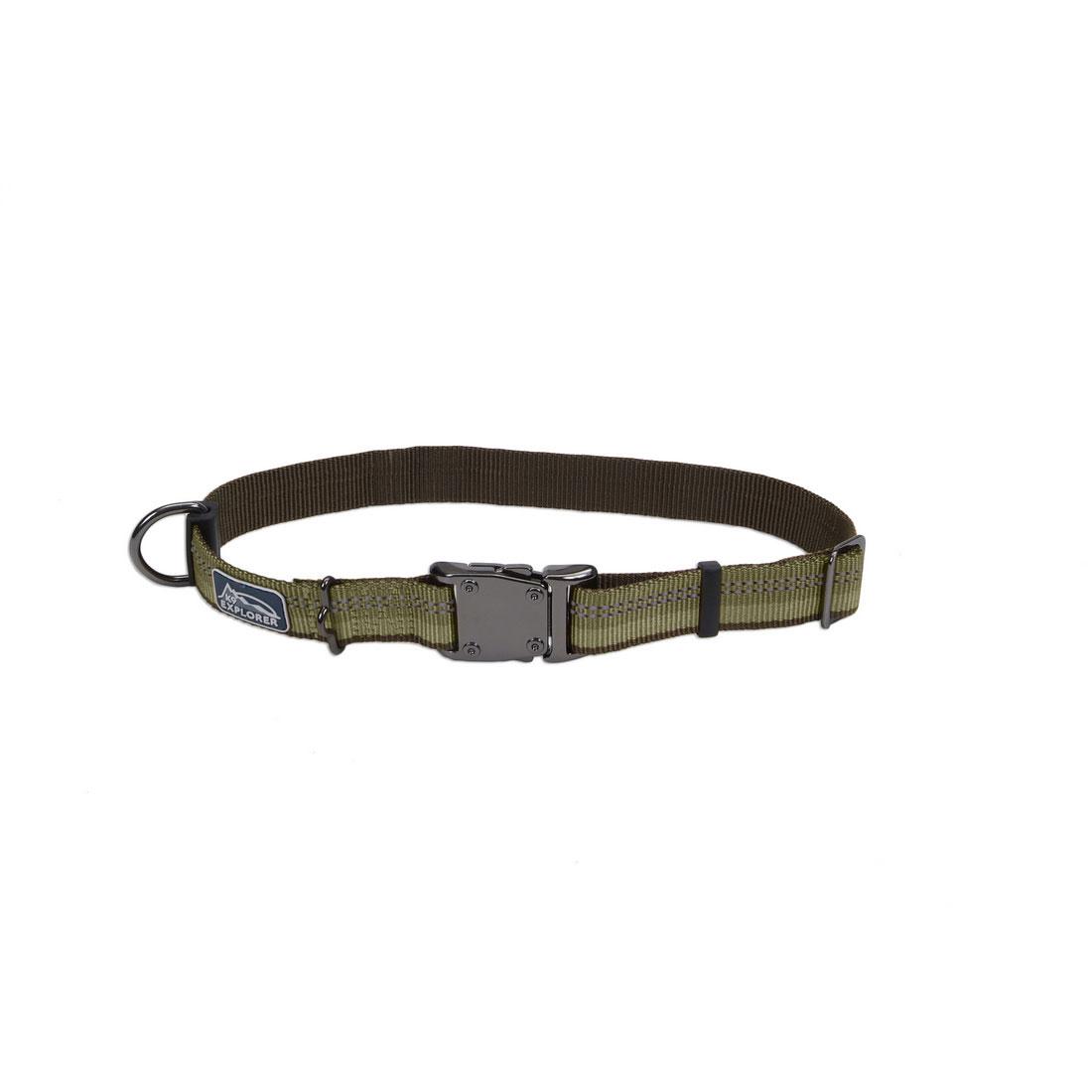 K9 Explorer Reflective Adjustable Dog Collar, Green, 1-inx18-26-in