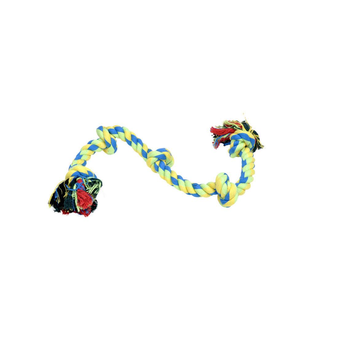 Rascals 5 Knot Rope Tug Dog Toy, Yellow, 26-in