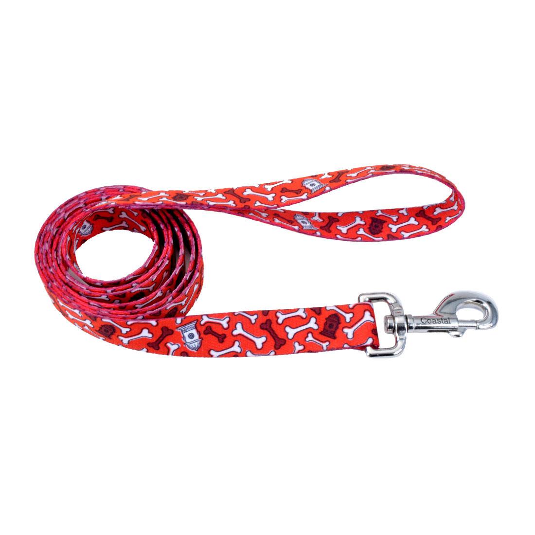 Styles Dog Leash, Red Bones, 3/4-inx6-ft