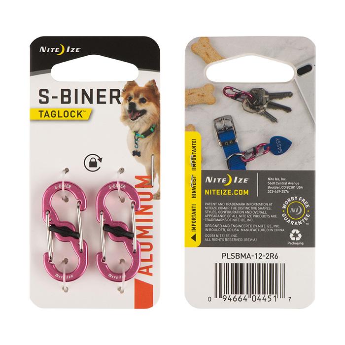 Nite Ize S-Biner Taglock Aluminum, Pink, 2-pack