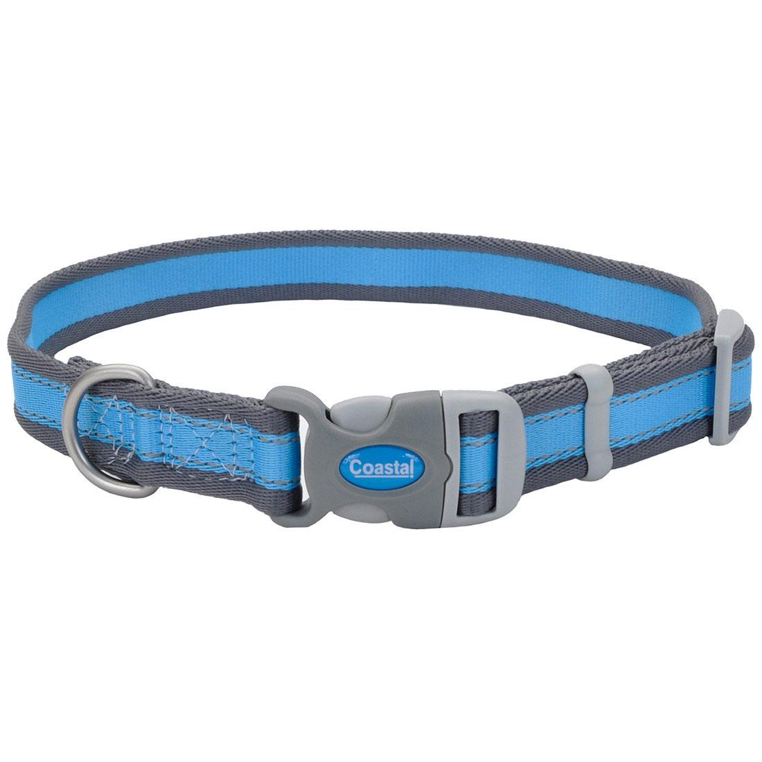 Pro Reflective Adjustable Dog Collar, Bright Blue with Grey Image