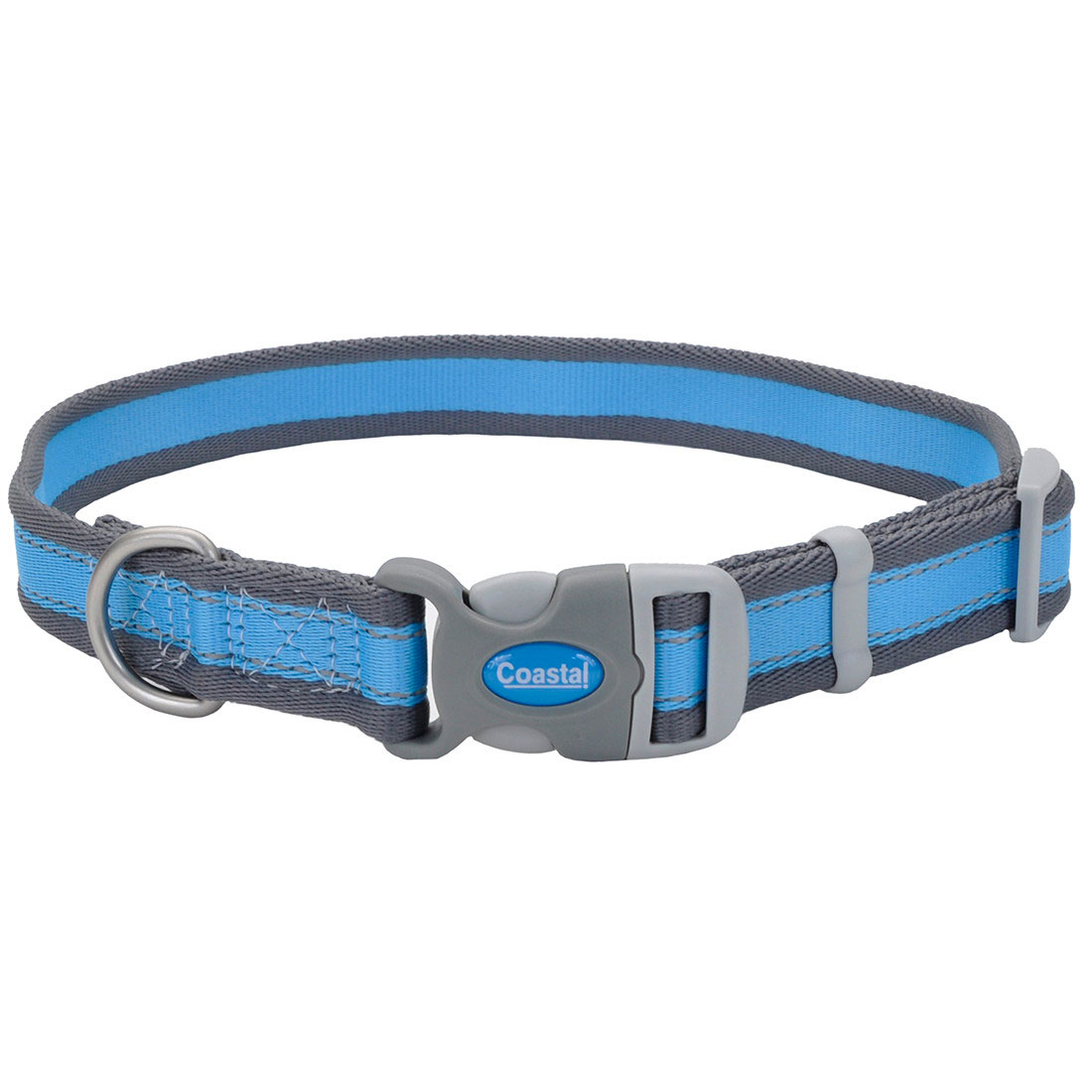 Pro Reflective Adjustable Dog Collar, Bright Blue with Grey, 1-inx14-20-in