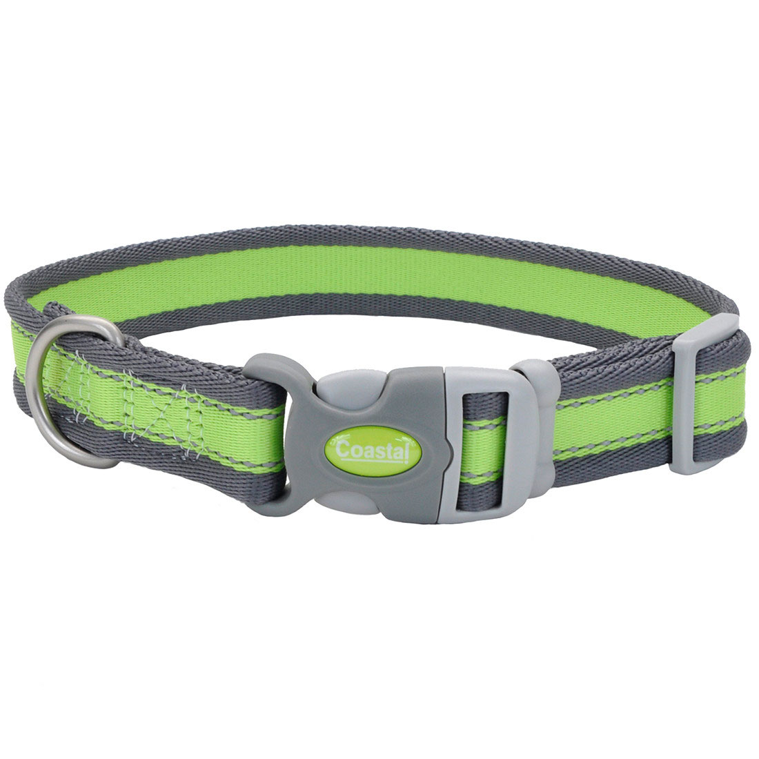 Pro Reflective Adjustable Dog Collar, Bright Green with Grey Image