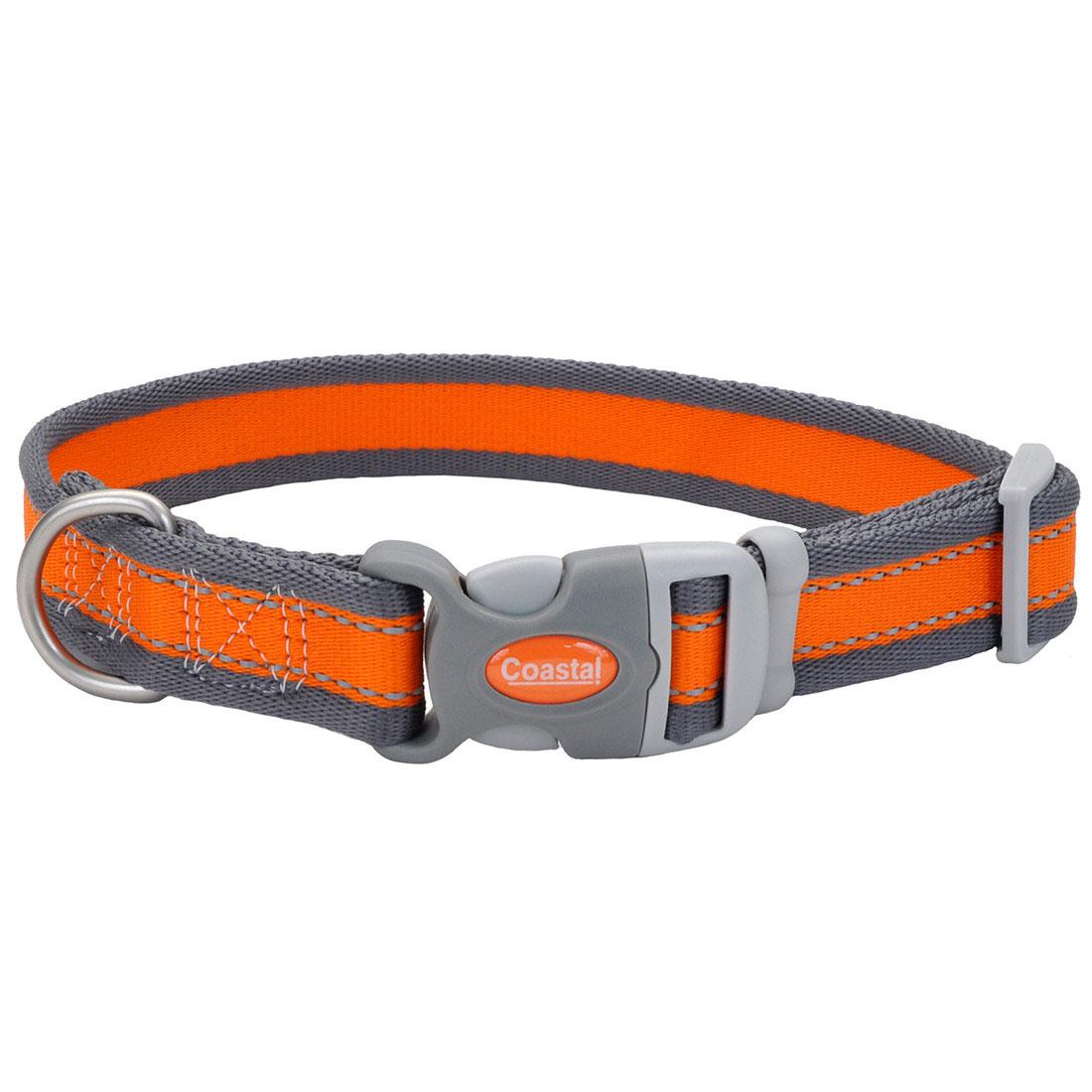 Pro Reflective Adjustable Dog Collar, Bright Orange with Grey Image