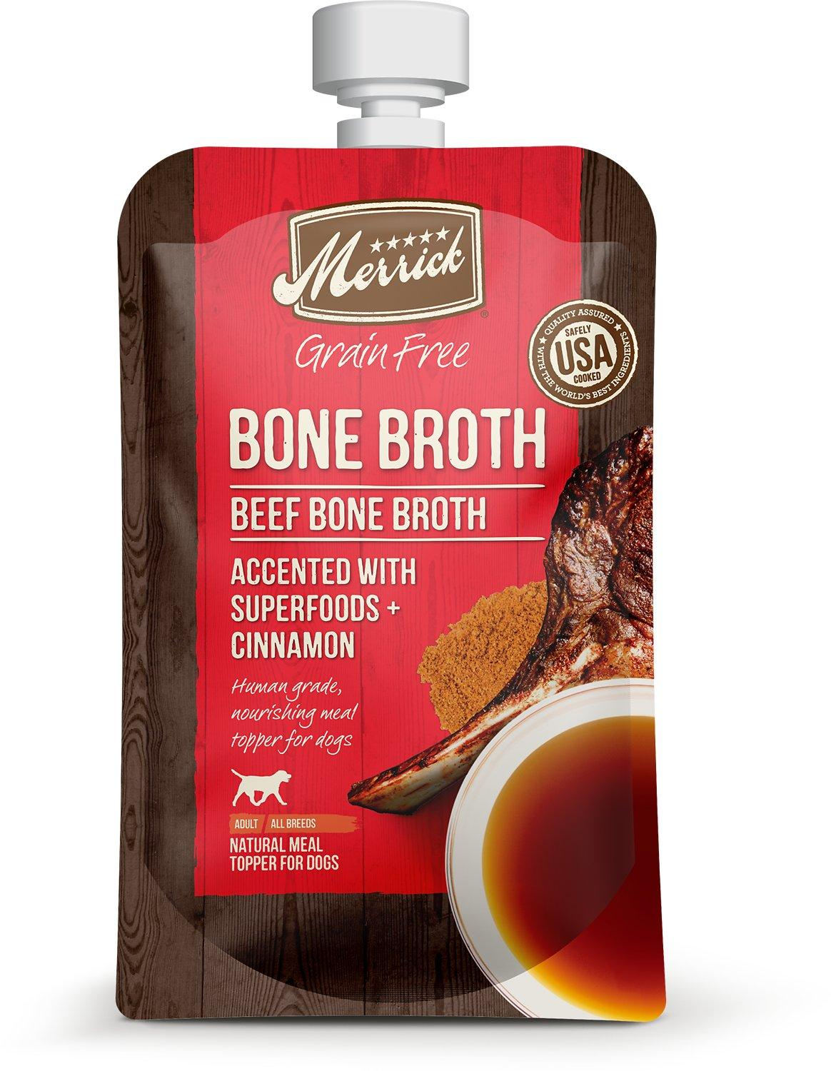 Merrick Bone Broth Beef Grain-Free Dog Food Topper, 7-oz