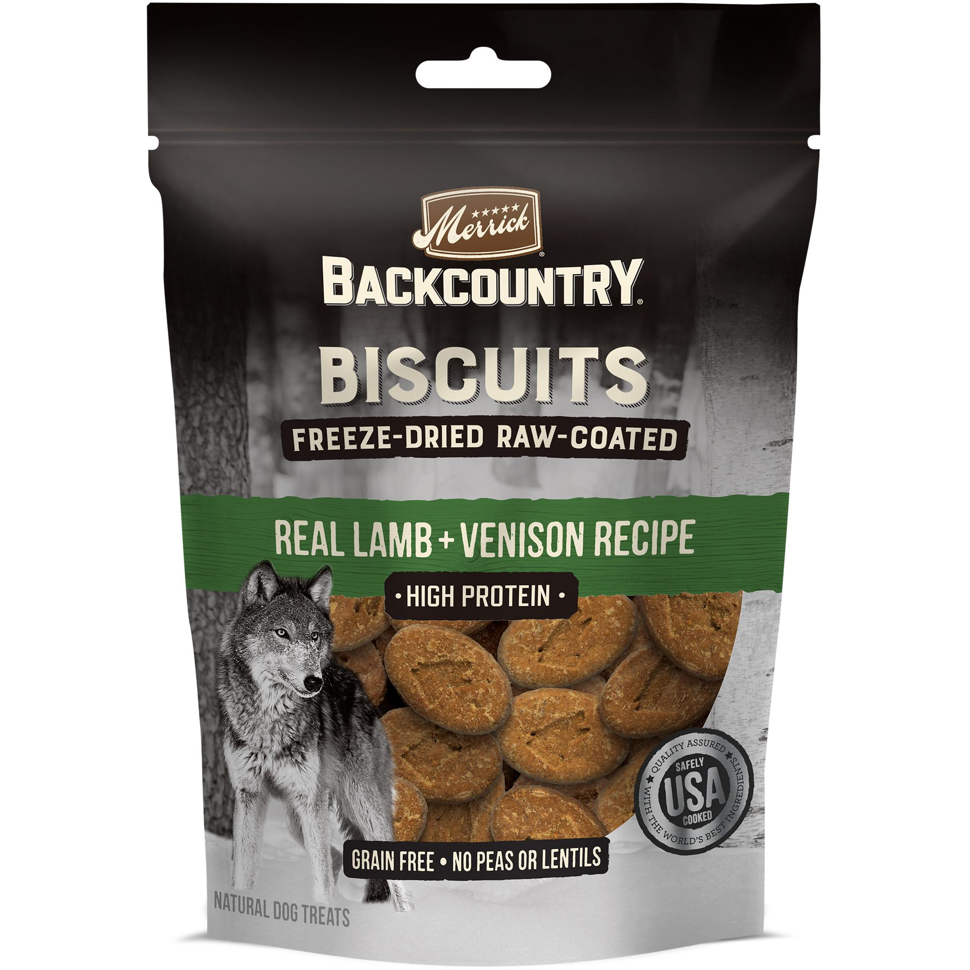 Merrick Backcountry Biscuits Real Lamb + Venison Grain-Free Raw-Coated Freeze-Dried Dog Treats, 10-oz