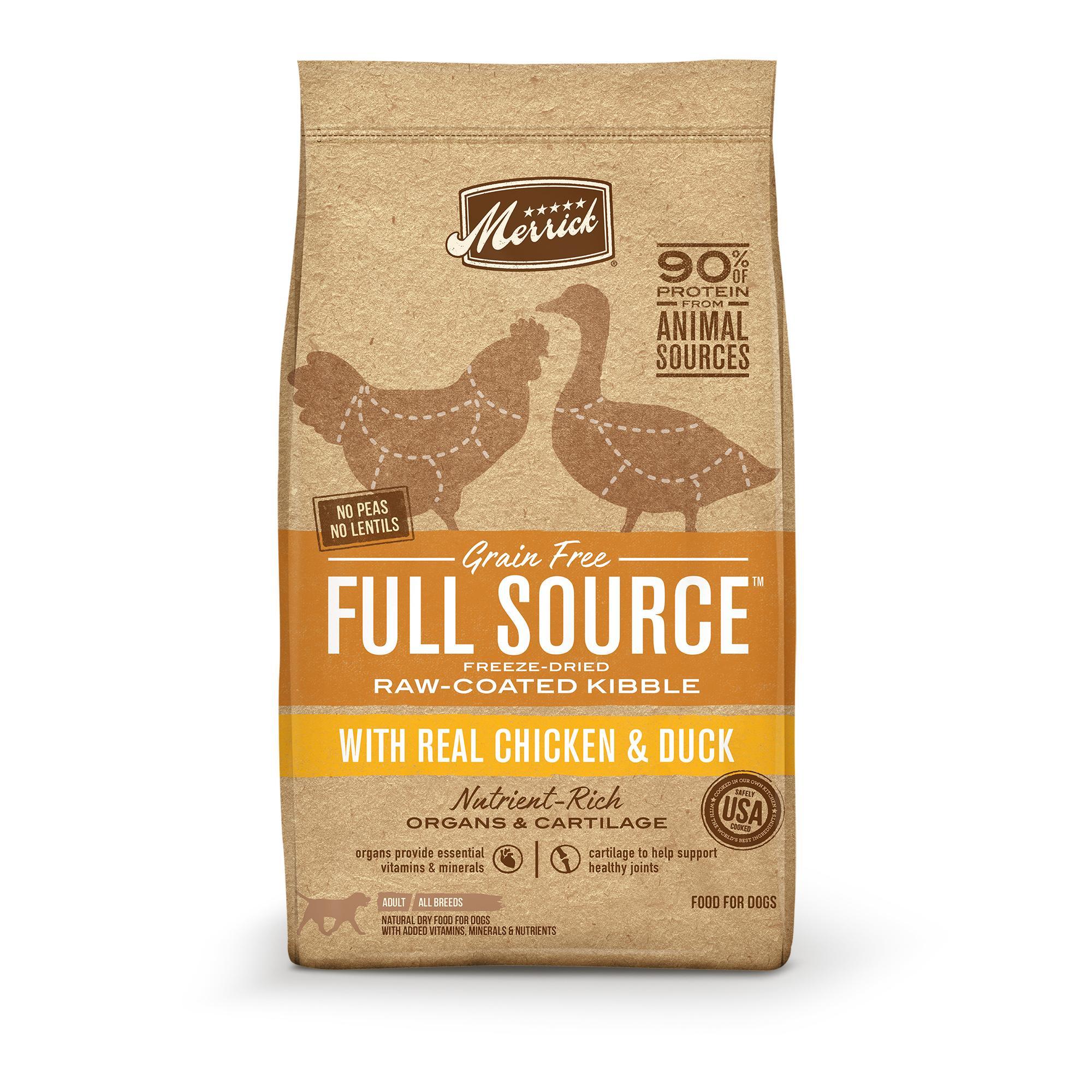 Merrick Full Source Chicken & Duck Grain-Free Raw-Coated Dry Dog Food, 4-lb