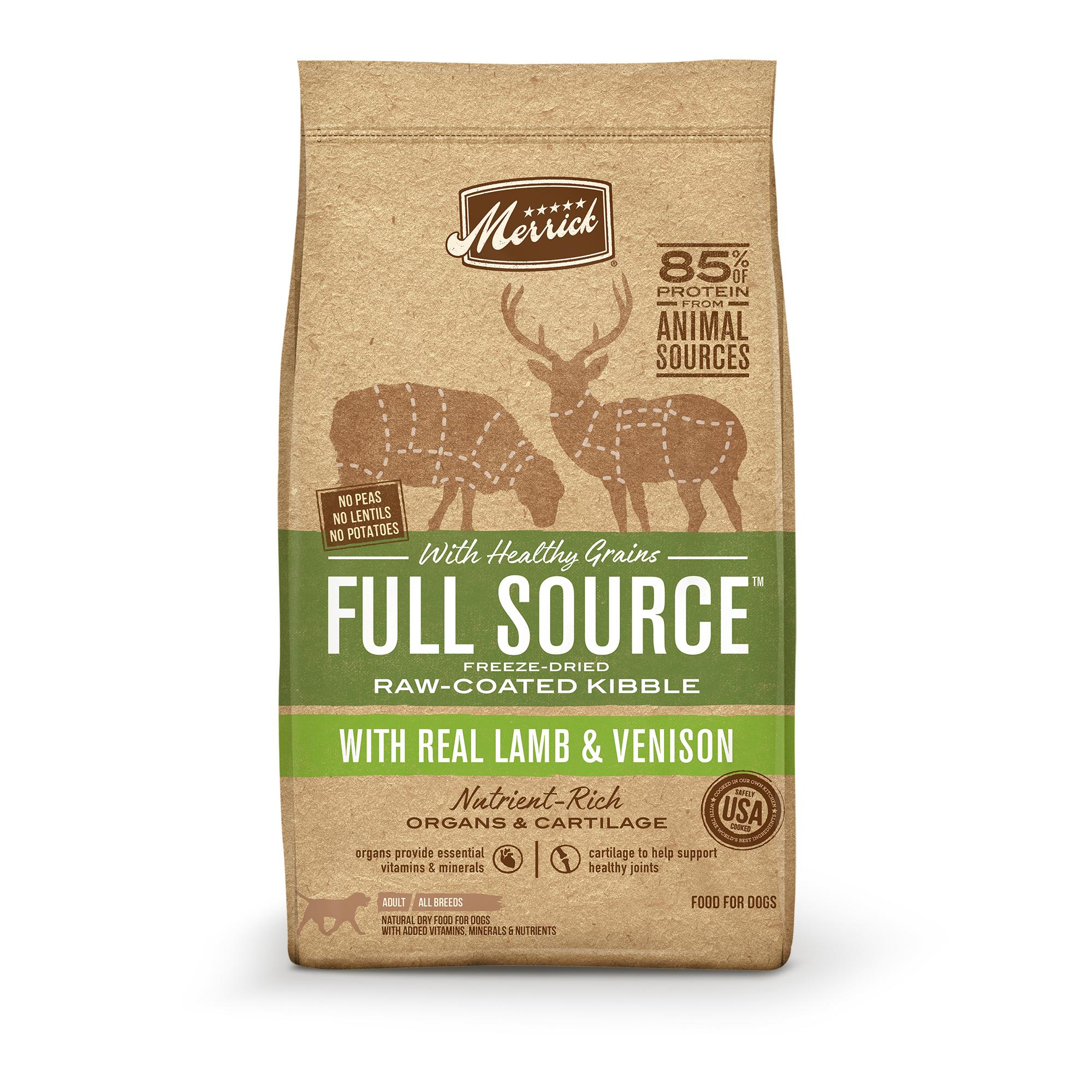 Merrick Full Source Lamb & Venison Healthy Grains Raw-Coated Dry Dog Food Image
