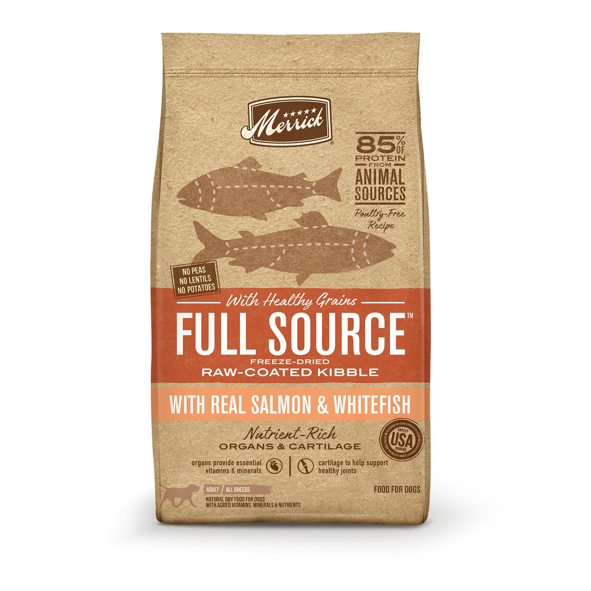 Merrick Full Source Salmon & Whitefish Healthy Grains Raw-Coated Dry Dog Food Image