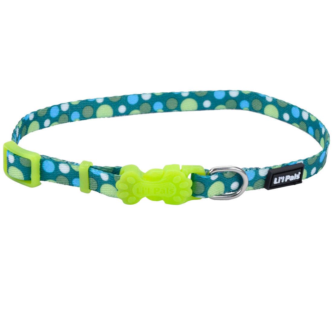 Li'l Pals Adjustable Patterned Dog Collar, Green Dots Image