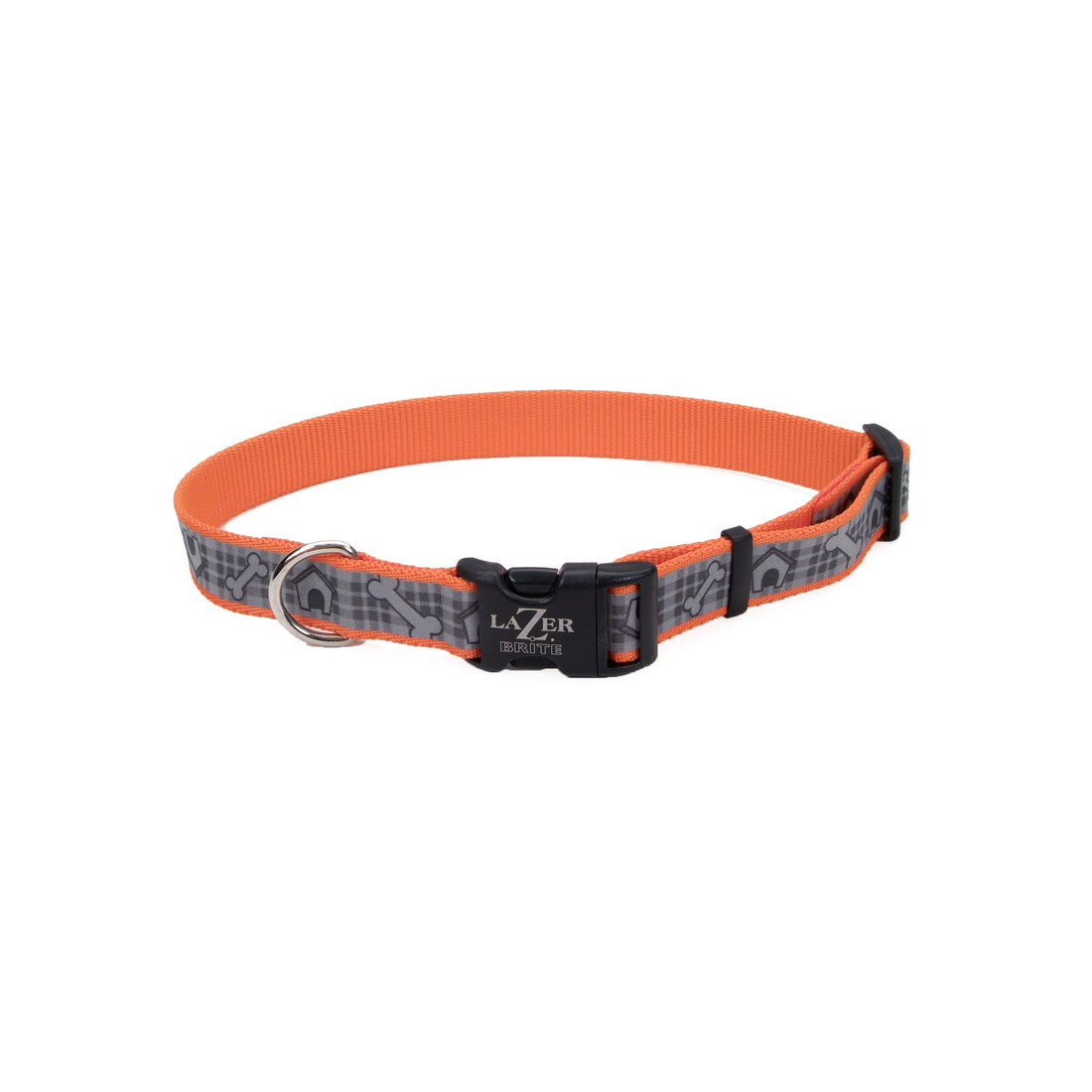 Lazer Brite Reflective Adjustable Dog Collar, Red Paws and Bones Image