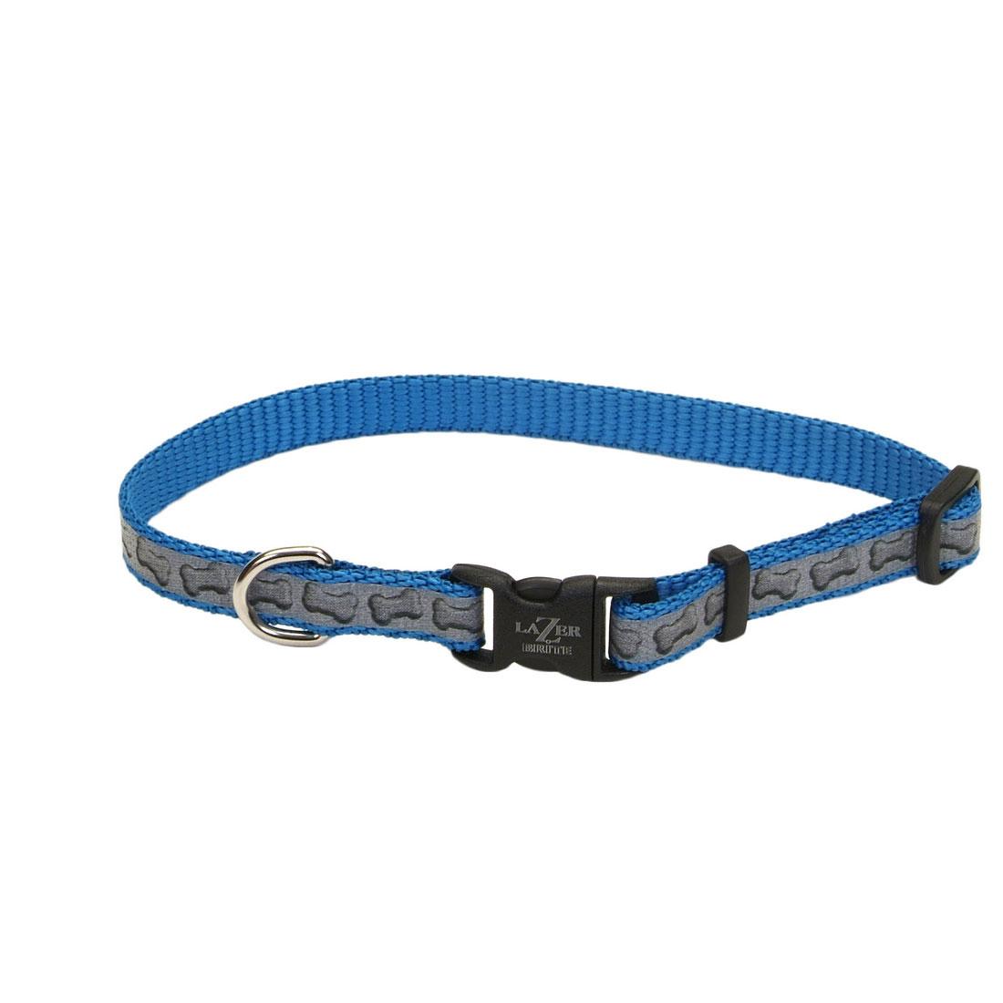 Lazer Brite Reflective Adjustable Dog Collar, Turquoise Bones Image