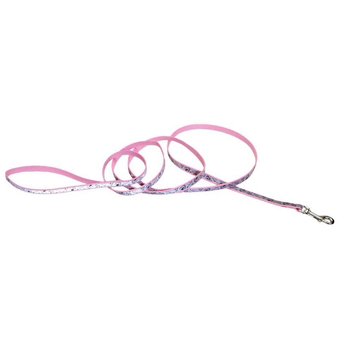 Lazer Brite Reflective Dog Leash, Pink Hearts, 1-inx6-inx6-