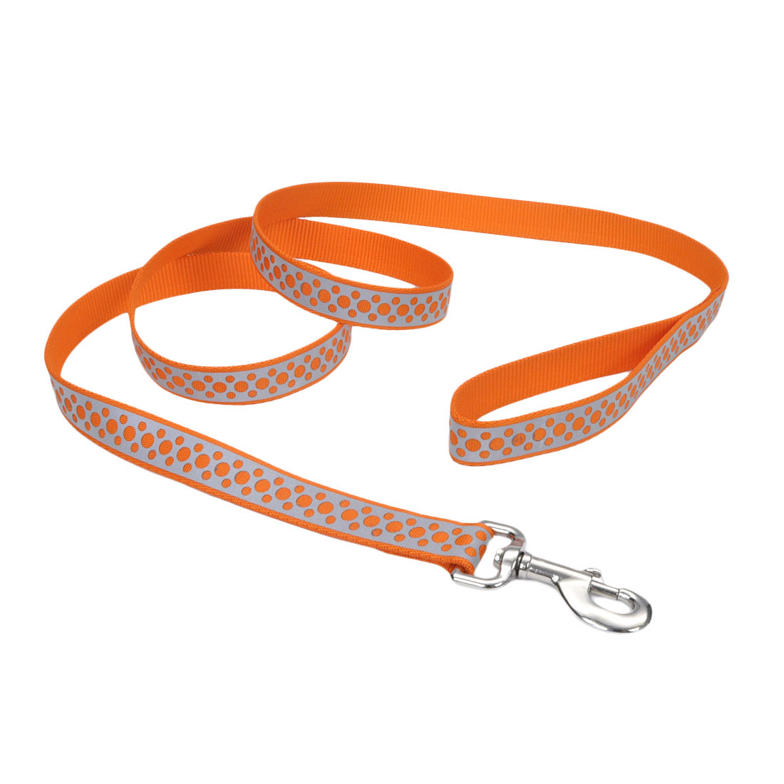 Lazer Brite Reflective Open-Design Dog Leash, Orange Abstract Rings, 1-inx6-inx6-in