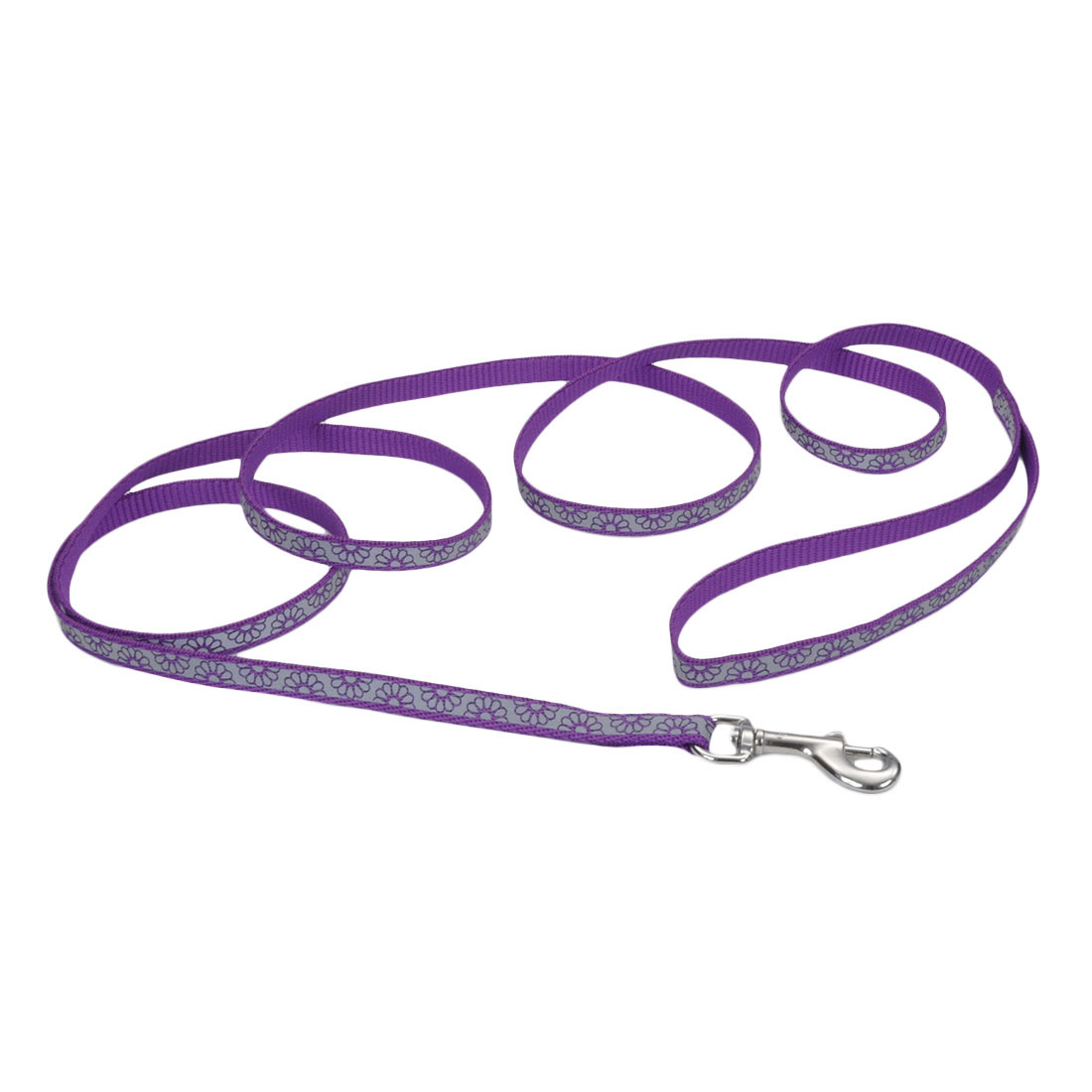 Lazer Brite Reflective Open-Design Dog Leash, Purple Daisy, 1-inx6-inx6-