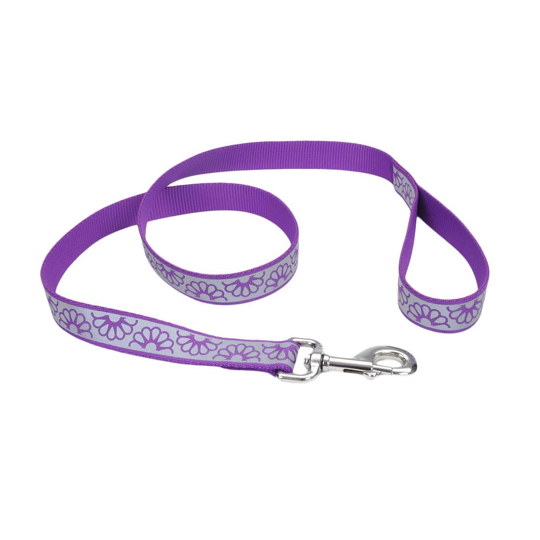 Lazer Brite Reflective Open-Design Dog Leash, Purple Daisy, 1-in x 4-ft