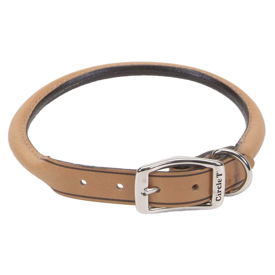 Circle T Oak Tanned Leather Round Dog Collar, Tan, 1-in x 22-in