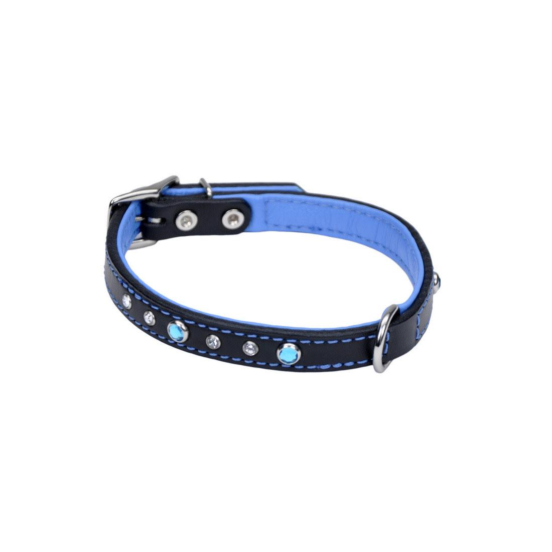 Circle T Fashion Leather with Jewels Dog Collar, Blue, 1-in x 18-in