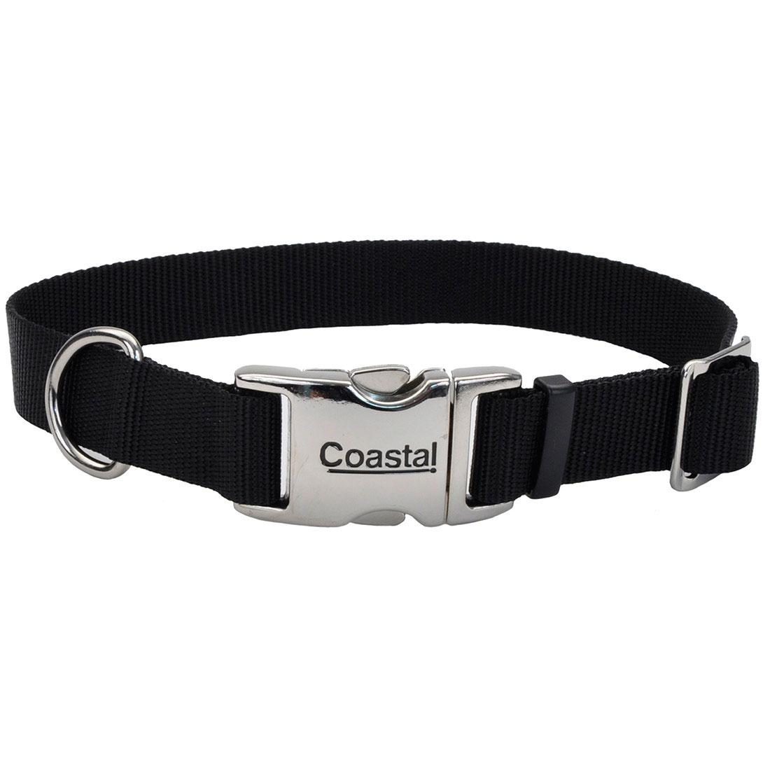 Coastal Adjustable Collar with Metal Buckle for Dogs, Black, 5/8-in x 10-14-in