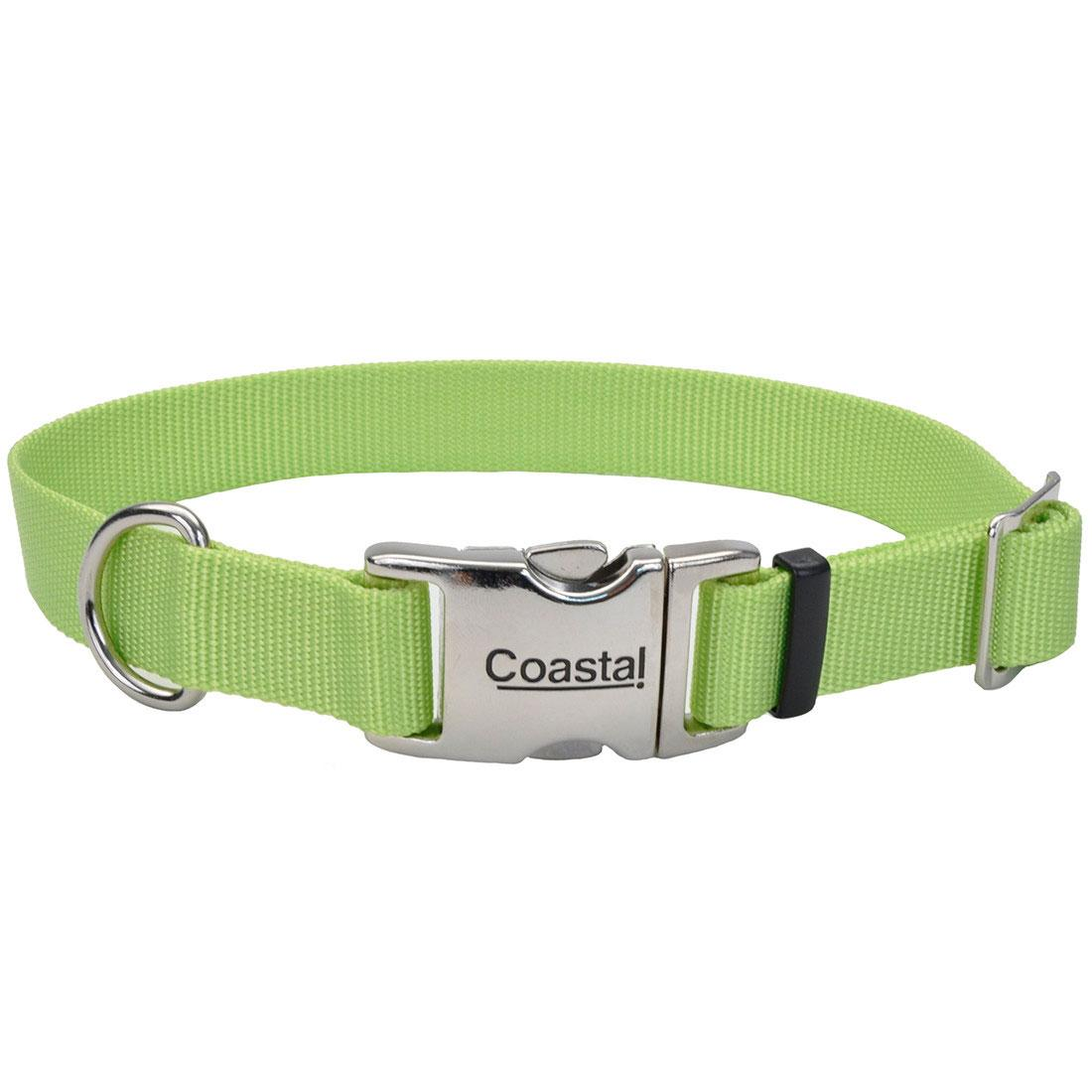 Coastal Adjustable Collar with Metal Buckle for Dogs, Lime, 5/8-in x 10-14-in