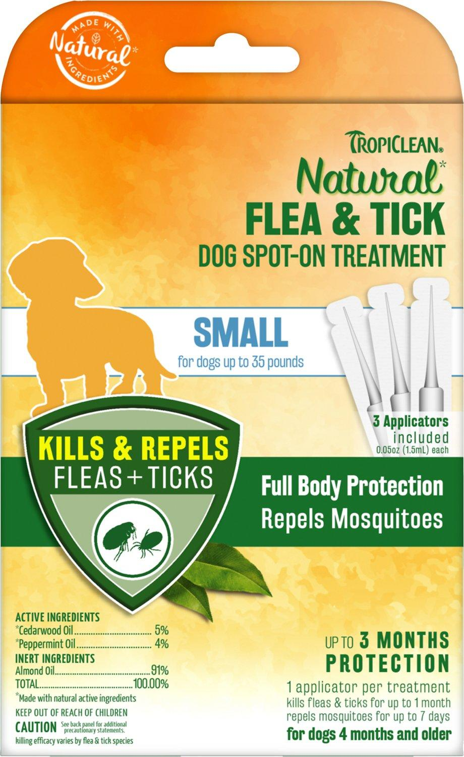 TropiClean Natural Flea & Tick Spot-On Treatment for Small Dogs, 3-count