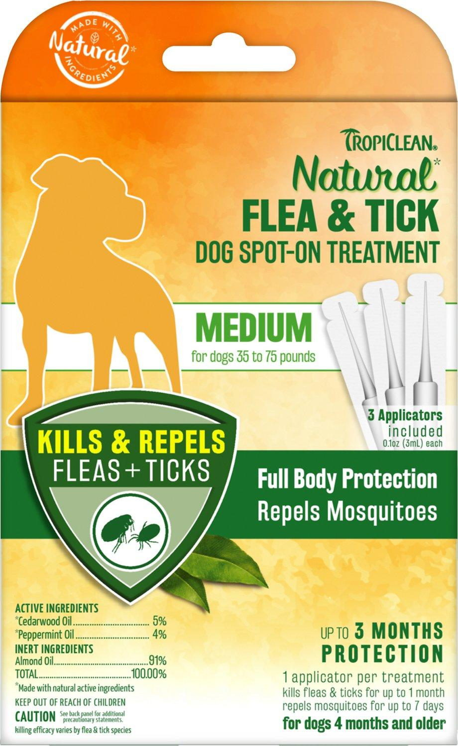 TropiClean Natural Flea & Tick Spot-On Treatment for Medium Dogs, 3-count