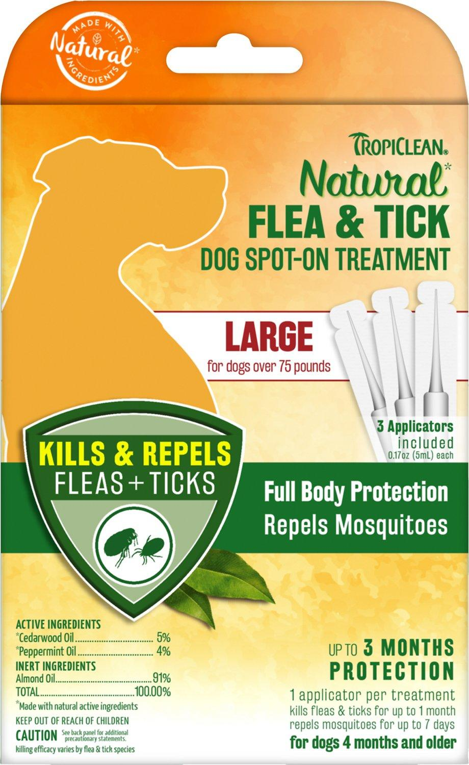 TropiClean Natural Flea & Tick Spot On Treatment for Large Dogs, 3-count