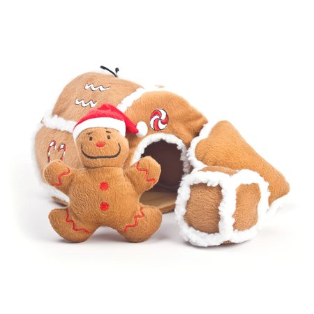 Outward Hound Gingerbread House Puzzle Plush Dog Toys Brown Color