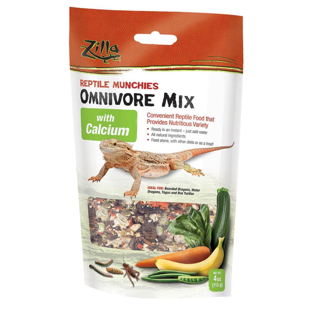 Zilla Reptile Munchies Omnivore with Calcium Reptile Food, 4-oz