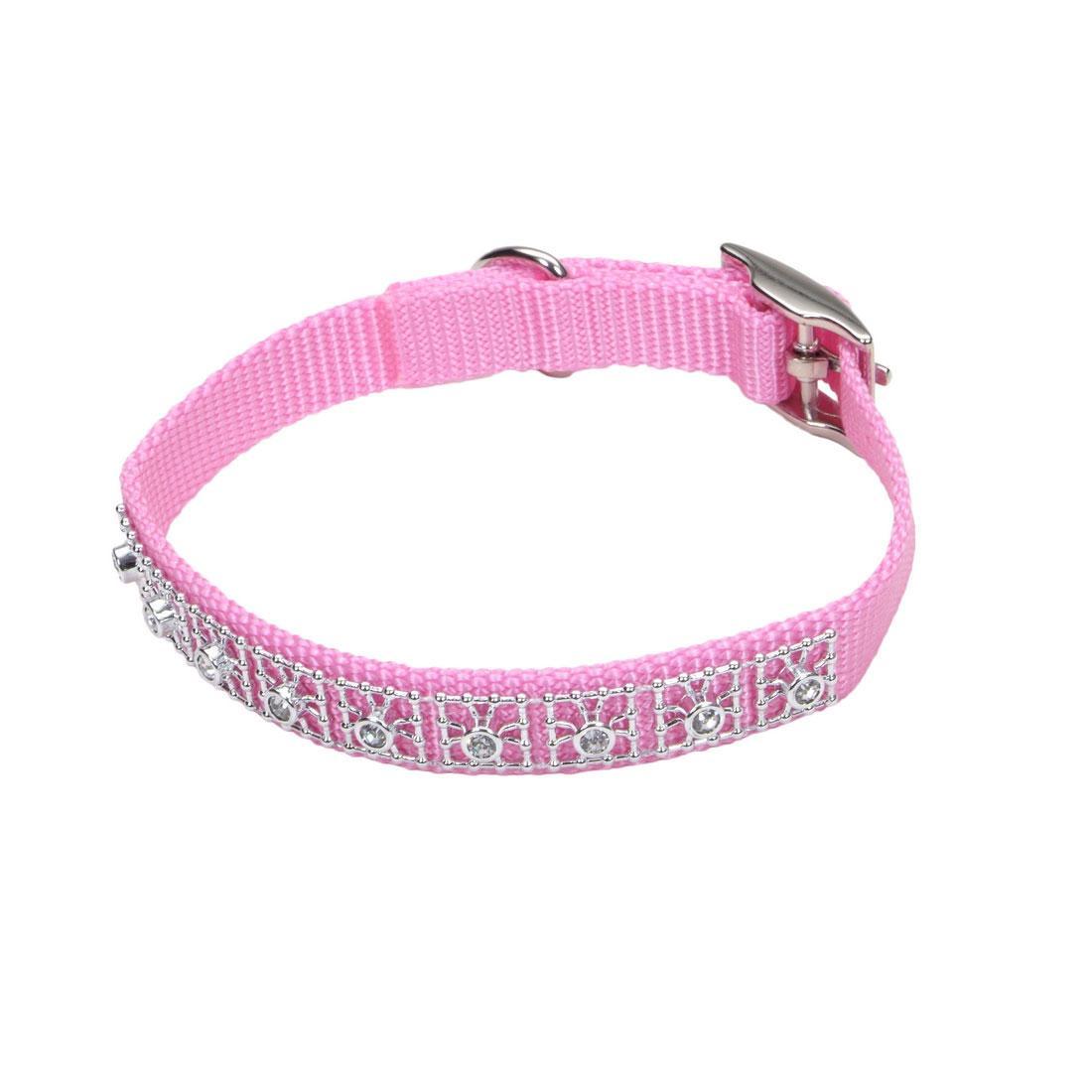 Coastal Jeweled Dog Collar, Pink Bright, 3/8-in x 10-in