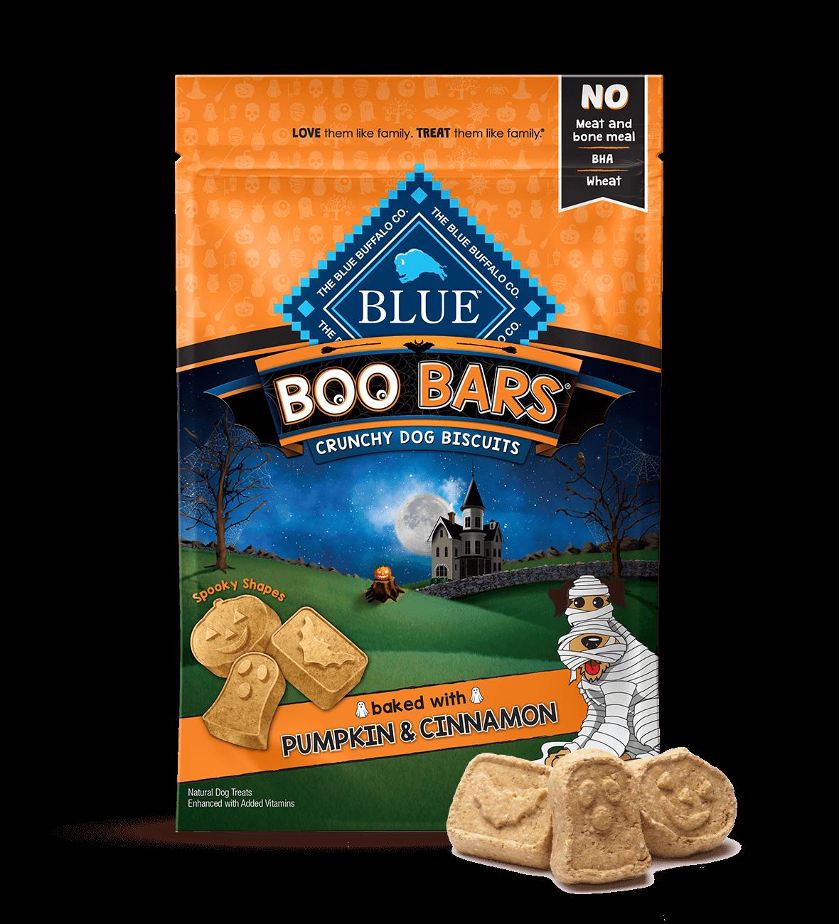 Blue Buffalo Boo Bars Pumpkin & Cinnamon Crunchy Biscuits Dog Treats, 8-oz