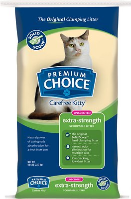 Premium Choice Carefree Kitty Unscented Extra Strength with Baking Soda Solid Scoop Cat Litter, 50-lb bag
